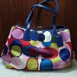 Coach scarfprint multicolor signature carryall